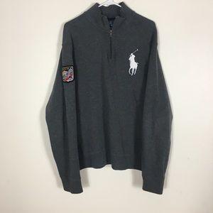 Polo Ralph Lauren Grey Half Zip Pullover Sweater